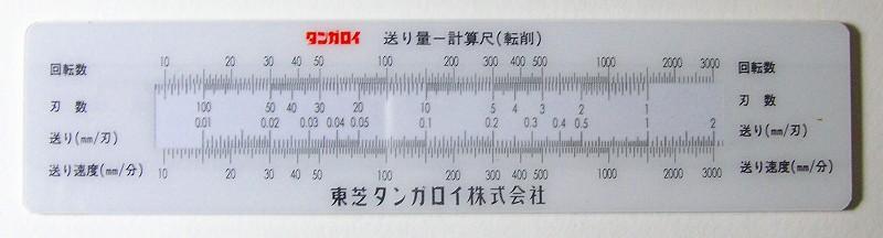 計算尺 東芝タンガロイ 切削速度...